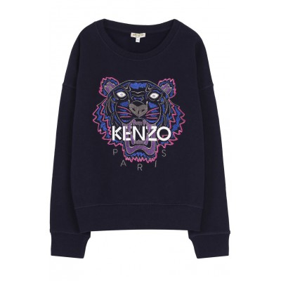 KENZO - Embroidered Tiger Print Sweat  Dark Blue 14A