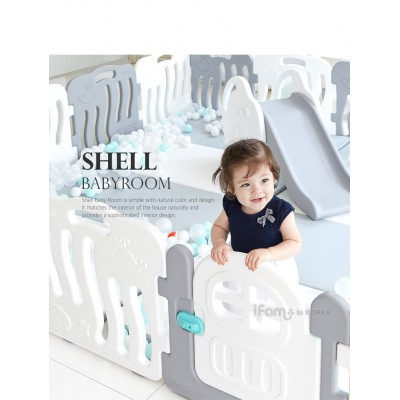 iFam Shell Baby Room Playpen Grey + White with Door (10PCS) L2.1x W1.3XH60