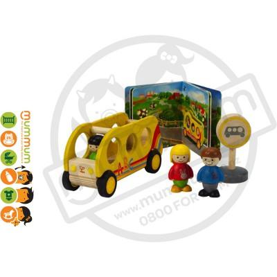 Hape The School Bus Book & Toy 5pcs Set 18M+  Wooden