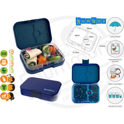 Yumbox Mumbai Santa Fe Blue 4 - Compartment Food Tray