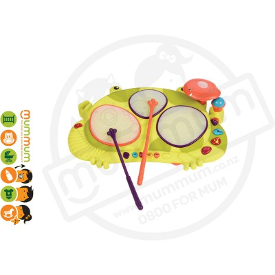 Battat Ribbit-Tat-Tat Musical Frog Drum Toy