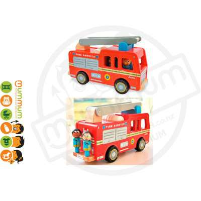Jamm Wooden Freddie Fire Engine Red Gift Boxed