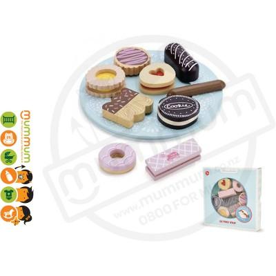 Le Toy Van Wooden Honeybake Biscuts & Plate Set 10Pcs