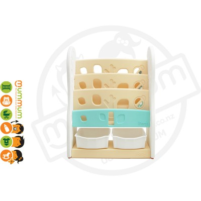 iFam DESIGN Open Book Shelf 3 Level W/ 2 Baskets Beige L80xD36xH92 Made in Korea