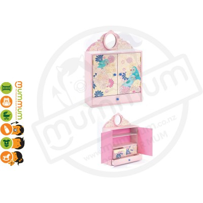 Djeco Wooden Wardrobe Trinket Box - Romantic Birds  (Pink)