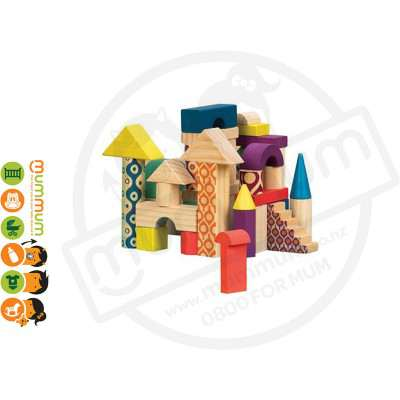 Battat B Toys Wood U Build It Wooden Building Block Set