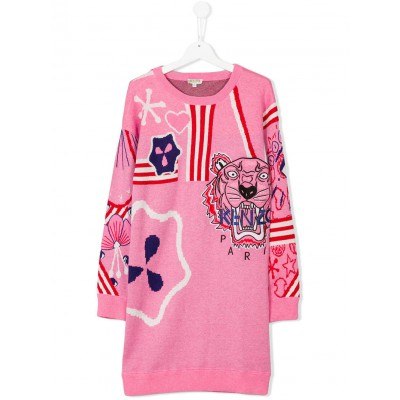Kenzo Kids Tiger Knitted Jumper Dress Bubble Pink 4A-6A