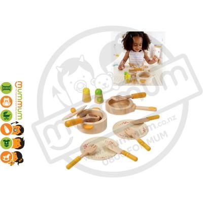 Hape Wooden Gourmet Kitchen Starter Cookware Set 13pcs