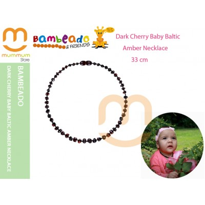 Bambeado Dark Cherry Baby Baltic Amber Necklace