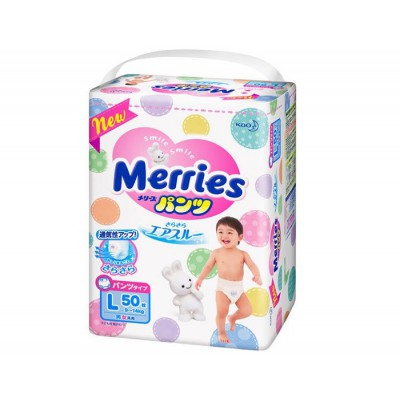 Merries Nappy Pants Size L 50 pcs 9-14kg Made in Japan
