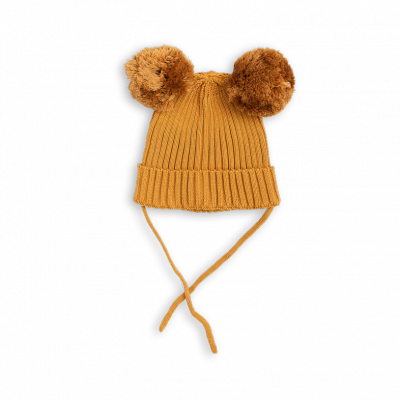 Mini Rodini Ear Hat - Beige Pom Pom