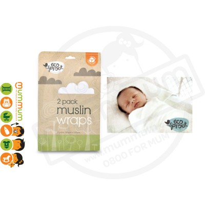 Eco Sprout Certified Organic Cotton Muslin Swaddling Wraps 2pk