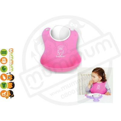 BABYBJORN Soft Bib Pink Catch Food Rinse Clean