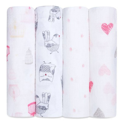 Aden and Anais  Muslin Wrap lovebird classic 4pk