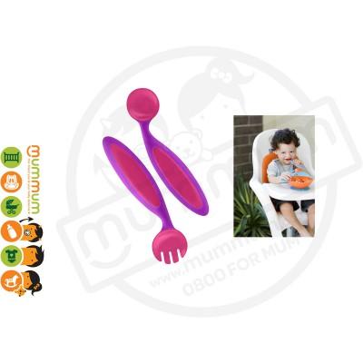 Boon Benders Utensils Fork & Spoon (Purple/Pink)