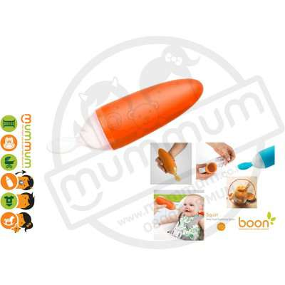 Boon Squirt Silicon Baby Food Dispensing Spoon (Orange)