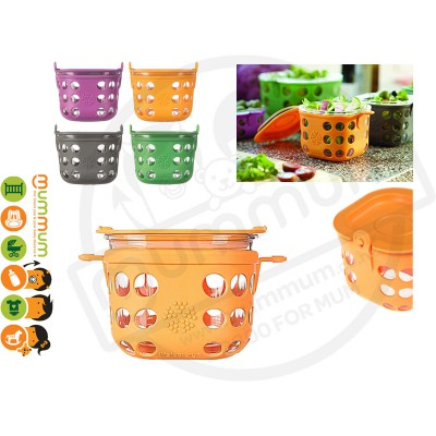 Lifefactory 2 Cup Glass Food Storage with Silicone Sleeve (Orange)