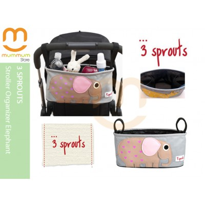 3 Sprouts Stroller Organizer Pink Elephant Pattern