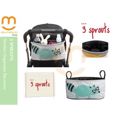 3 Sprouts Stroller Organizer Teal Raccoon Pattern