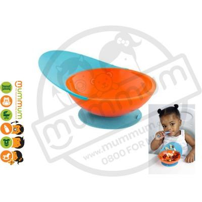 Boon Catch Bowl Toddler Training Bowl Suction Base (Blue/Orange/Tangerine)