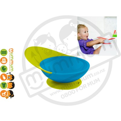 Boon Catch Bowl Toddler Training Bowl Suction Base (Green/Blue)