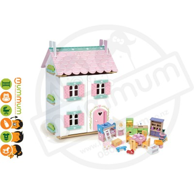 Le Toy Van Sweetheart Cottage Wooden Dollhouse with Furniture
