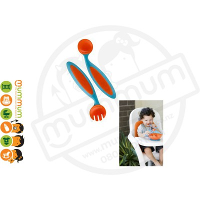 Boon Benders Bendable Toddler Training Spoon Fork Orange