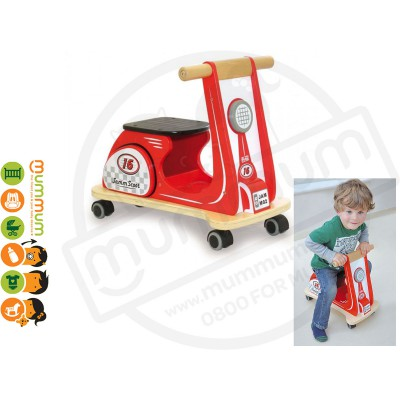 Jamm Scoot Red Racer Wooden 12m+ Multi directional casters