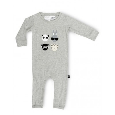 Huxbaby 4 Romper-grey Marle size 3-6, 6-12, 12-18