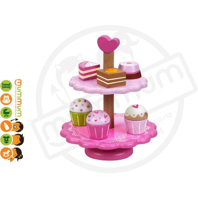 Classic World Wooden Cake Stand with Stacking Cake 10pcs Set