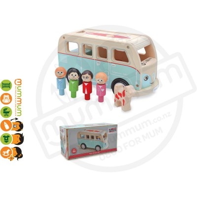 Jamm Wooden Colin Camper Van 12M+ Gift Box Packed