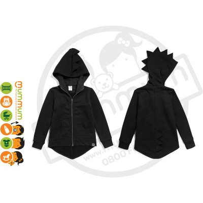 kukukid Dino Hoodie Cotton Mommy Black