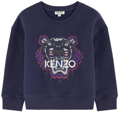 KENZO - Embroidered Tiger Print Sweat  Dark Blue 6A
