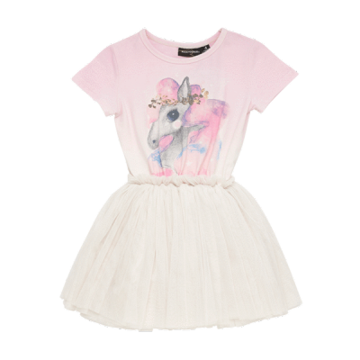 Rock your baby Rainbow Brumby ss Circus dress Cream/Light 6-8Y