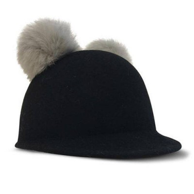 BILLY LOVES AUDREY Wool Felt Cap Hat with Pom Pom Black Size L 54cm