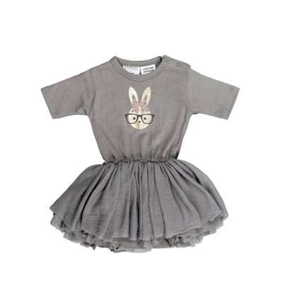 Huxbaby Bunny Ballet Onesie stone 0m-18m
