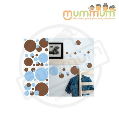 Room Mates Kids Peel & Stick Dots (Blue & Brown)
