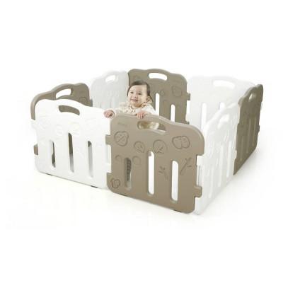 iFam Forrest Baby Room Playpen Mocha Grey + White (8PCS) L1.3 x W1.3XH60