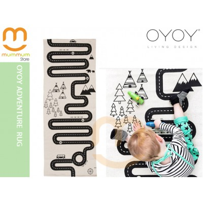 OYOY Adventure Mat Rug Black & Off White
