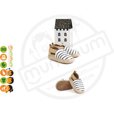 Pretty Brave Espadrille Summer Stripe Leather First Walker Baby Toddler Shoes