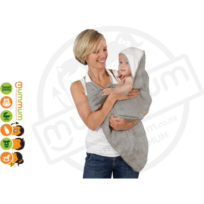 Cuddledry Handsfree Baby Bath Towel Grey Stars / White