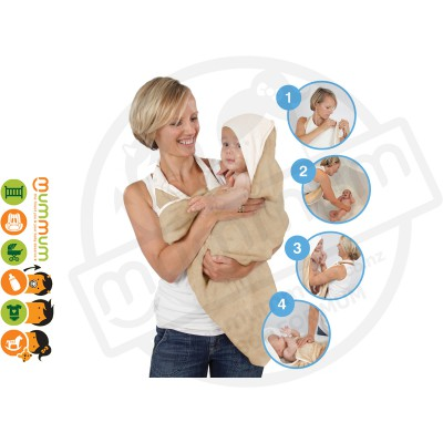 Cuddledry Handsfree Baby Bath Towel Oatmeal / White