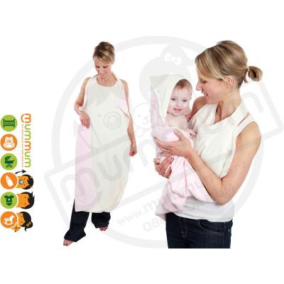 Cuddledry Handsfree Baby Bath Towel Pink / White