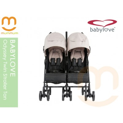 Babylove Odyssey Twin Stroller Tan
