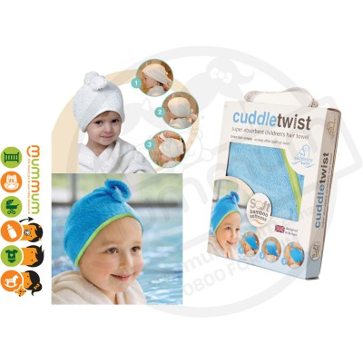 Cuddletwist Bamboo Hair Towel - Blue/Lime
