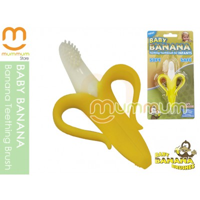 Baby Banana Teething Toothbrush for Infants to 12M Made in US Silicone Teether