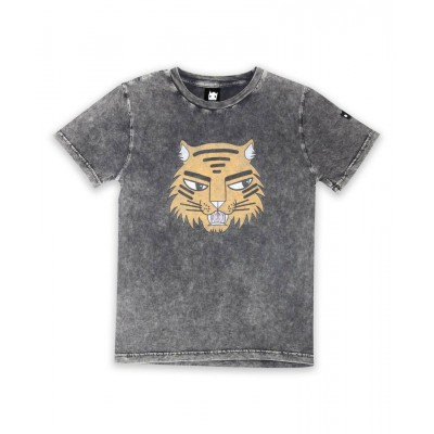 Band of boys SS Tee Tiger badges washed black