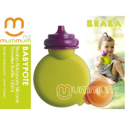 Beaba Babypote Silicone Reusable squeezePouch Lime