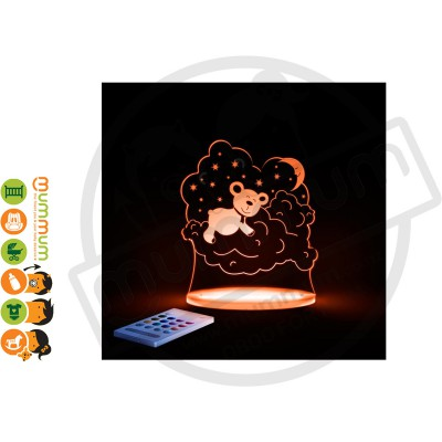 Aloka Night Light Bear Multi Colour With Remote Control