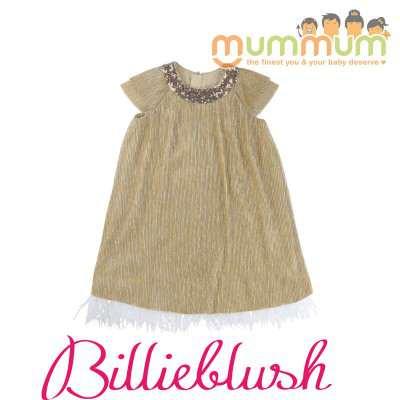 BillieBlush Gold Dress Cermonie Unique